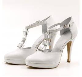 Pantofi mireasa TUNGUS, piele naturala alb sidef, marimi 33-40 EU