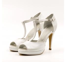 Pantofi mireasa TUNGUS, piele naturala alb sidef, decupat, marimi 33-40 EU