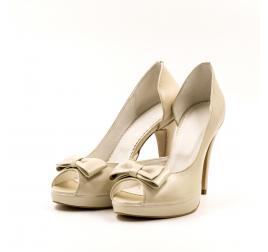 Pantofi mireasa TUNGUS, piele naturala bej sidef, marimi 33-40 EU