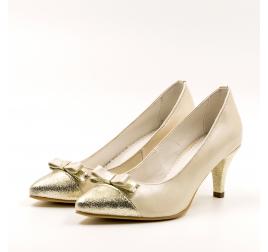 Pantofi mireasa Elegant-TUNGUS, piele naturala bej sidef, marimi 33-40 EU