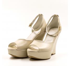 Pantofi mireasa TUNGUS, piele naturala bej sidef, platforma, marimi 33-40 EU