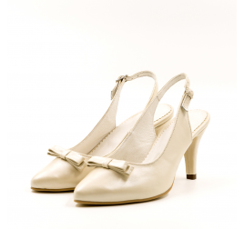 Pantofi mireasa TUNGUS, piele naturala bej sidef, toc 6 cm, marimi 33-40 EU